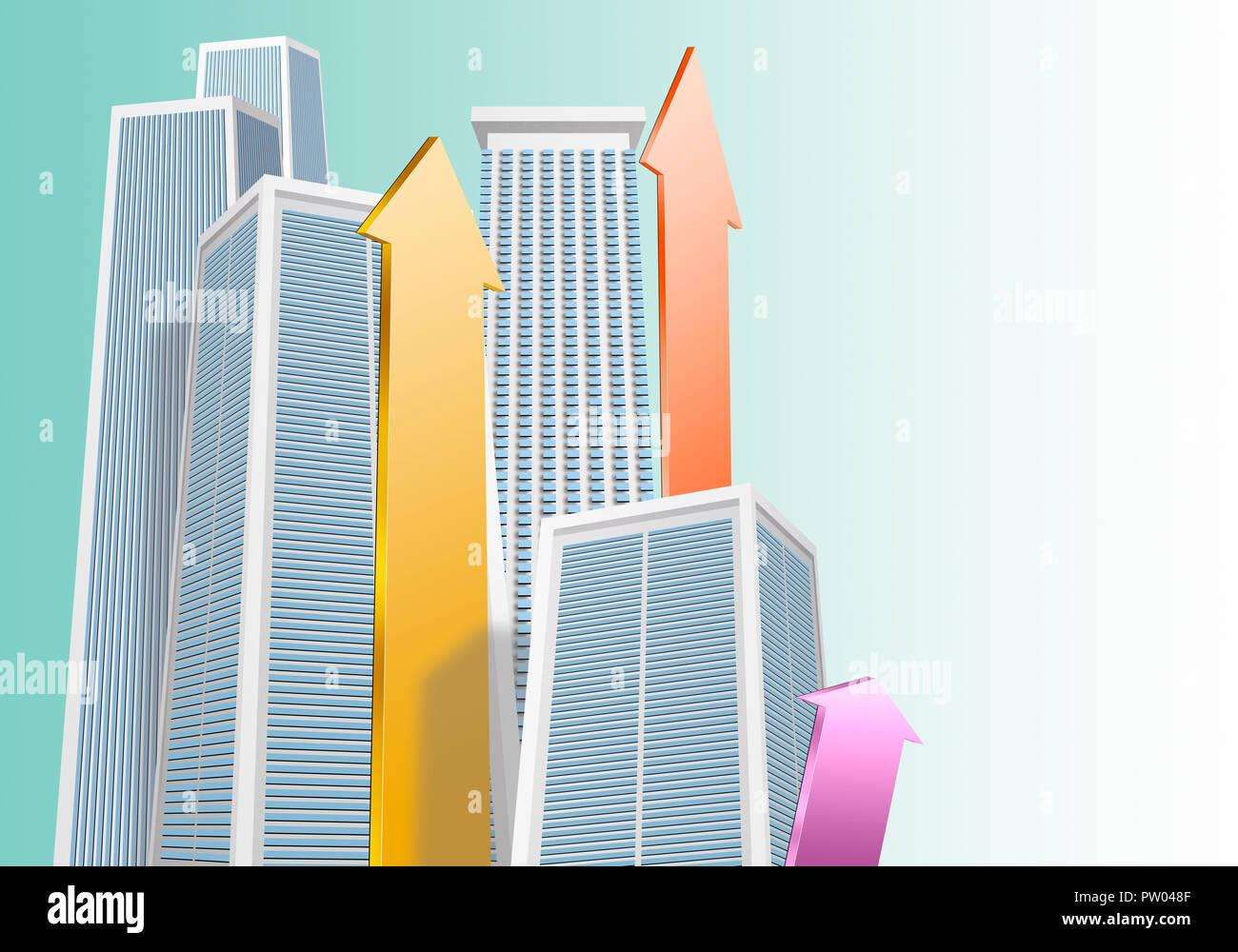 Konzept Stadt Gebäude Wolkenkratzer und Pfeile in Farben, Vector, 3D, CGI Stockbild