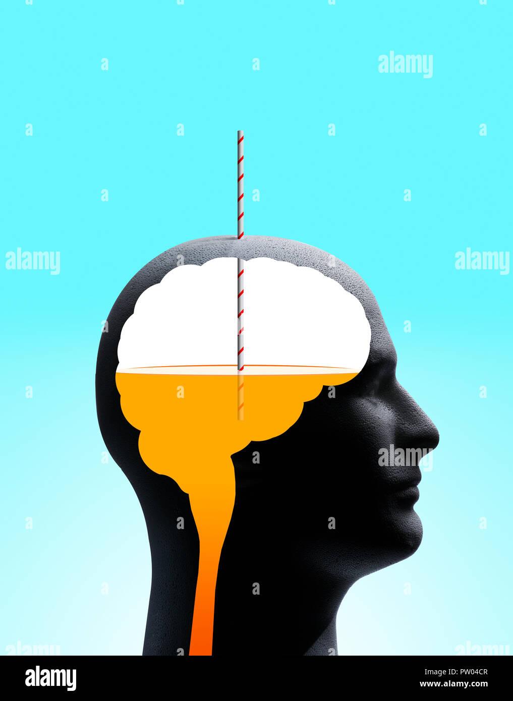 Konzept Profil eines Mannes mit Umrisse von Gehirn und Stammzellen, die eine orange Drink mit Stroh, Kool Aid Denken Stockbild