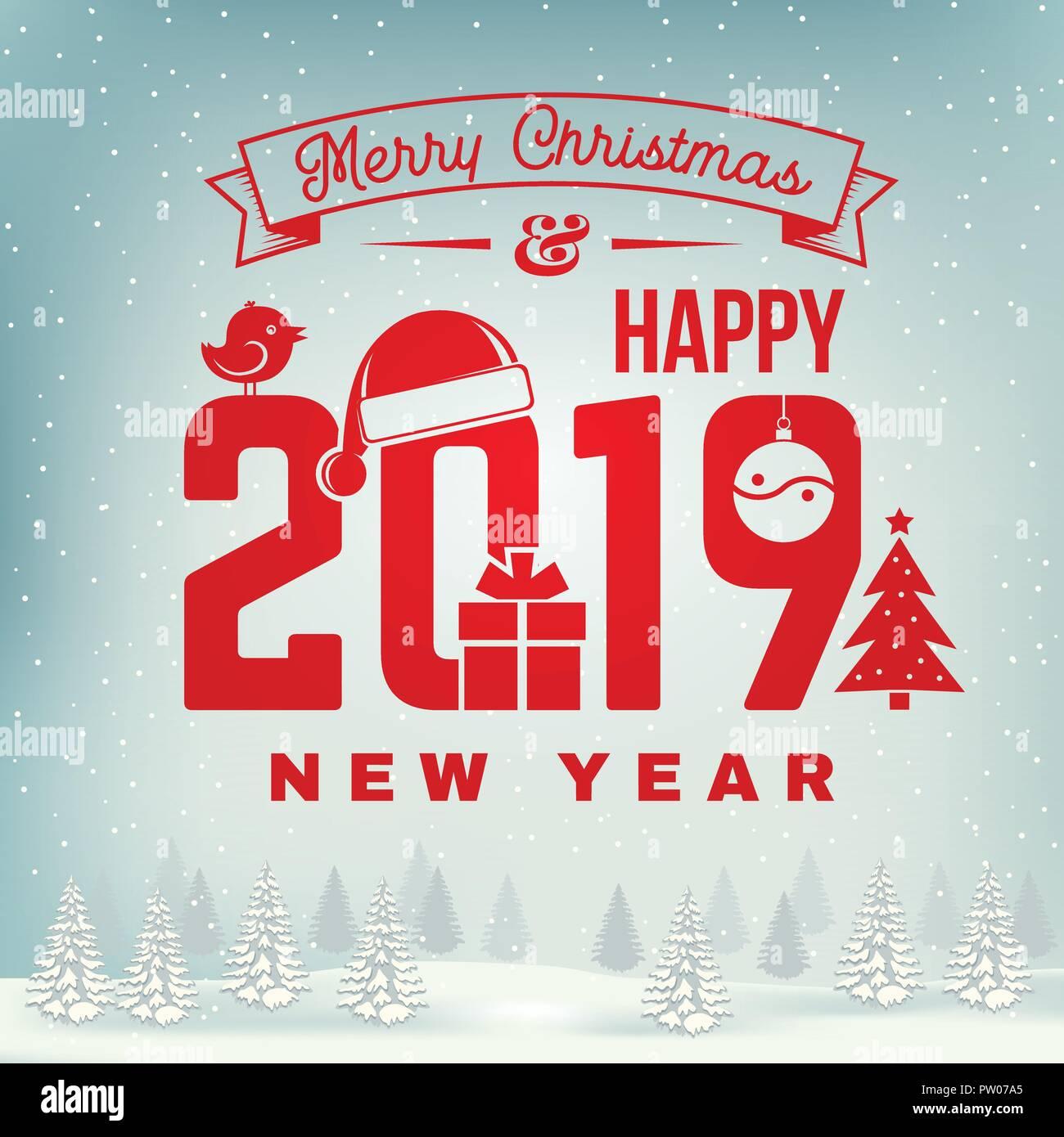 Frohe Weihnachten und ein glückliches Neues Jahr 2019 Stempel ...