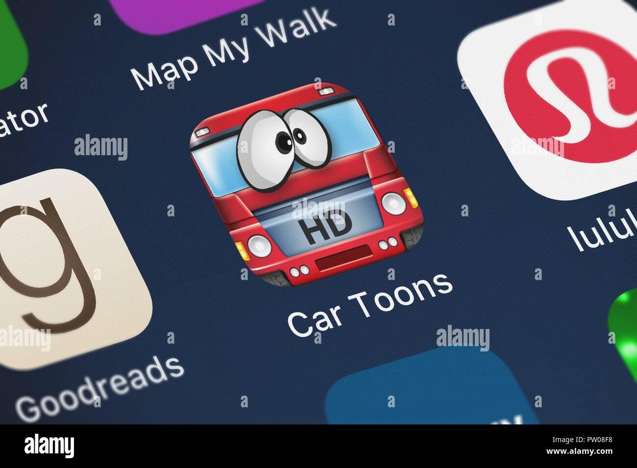 London, Großbritannien, 11. Oktober 2018: Nahaufnahme des Autos Toons HD Symbol Anwendung von FDG Mobile Games GbR auf einem iPhone. Stockbild