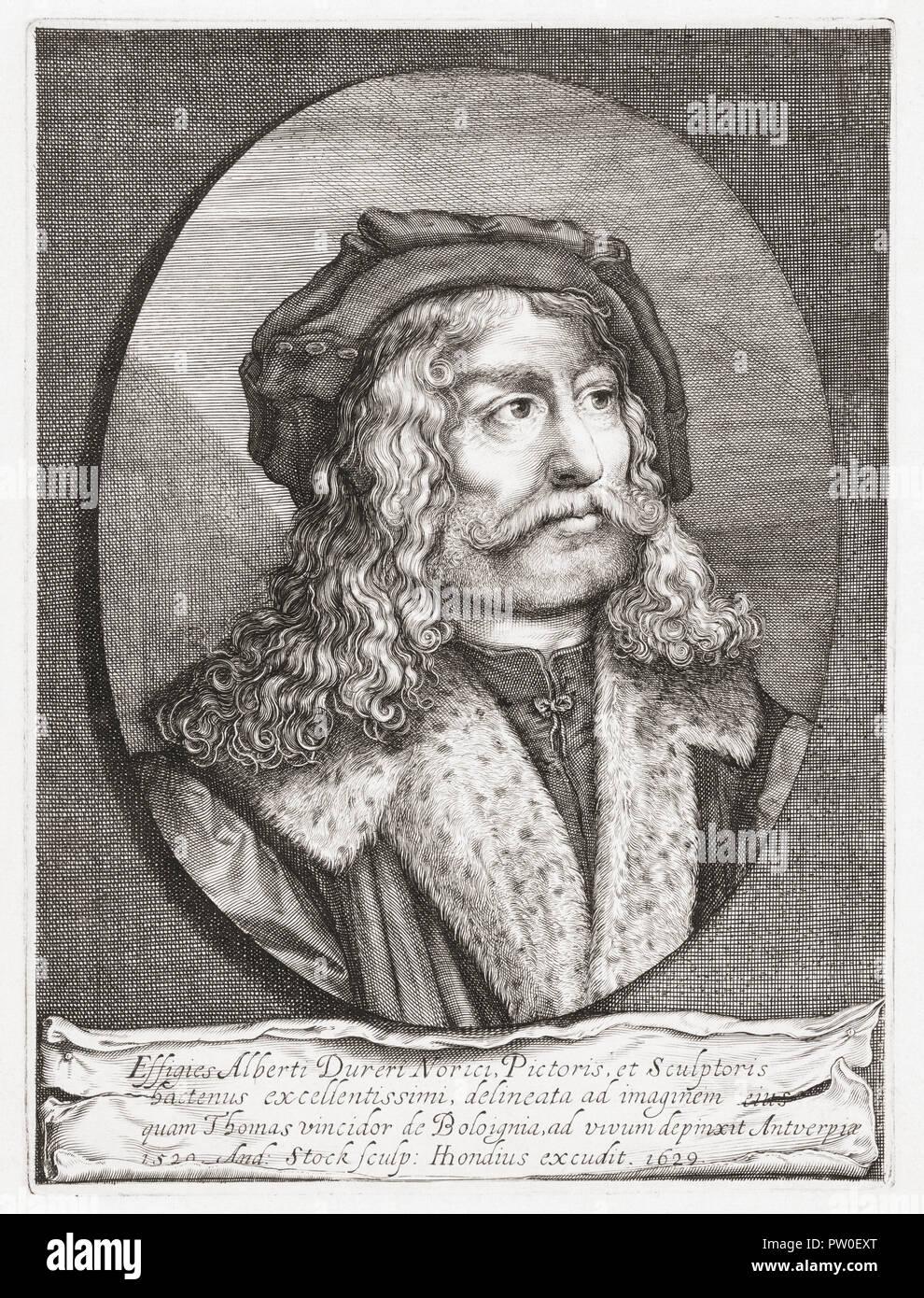 Albrecht Dürer, 1471 1528. Der deutsche Maler, Grafiker und Theoretiker. Jahrhundert Gravur nach einem Werk des italienischen Künstlers Tommaso di Andrea Vincidor. Stockbild