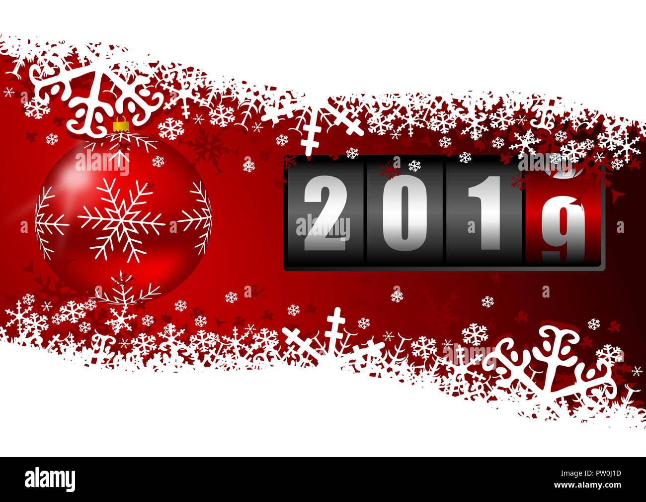 Neues Jahr 2019 Grußkarten mit Red christmas Ball und Schneeflocken ...