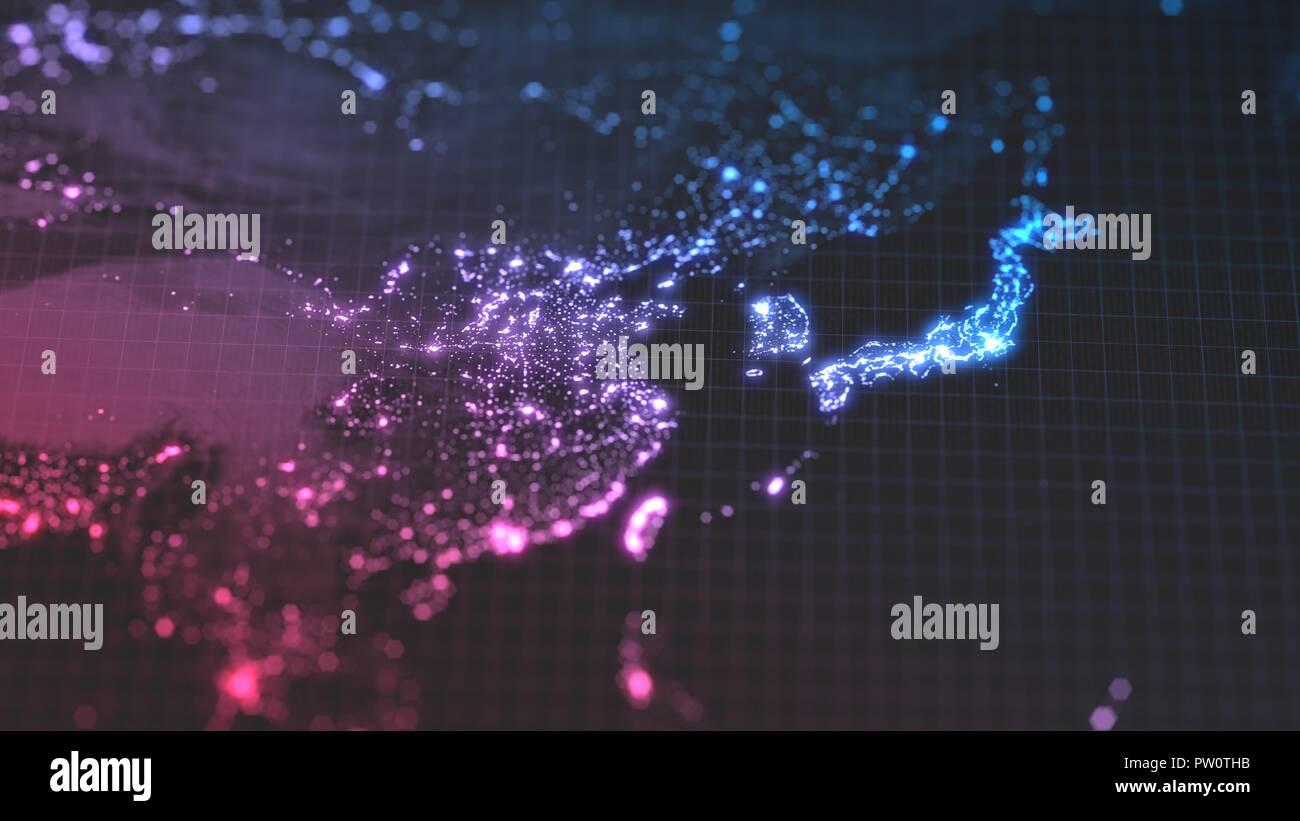 Dunkle Erde Karte mit glühenden Details der Stadt und der menschlichen Bevölkerung Dichte Bereiche. Blick von Asien. 3D-Darstellung Stockbild