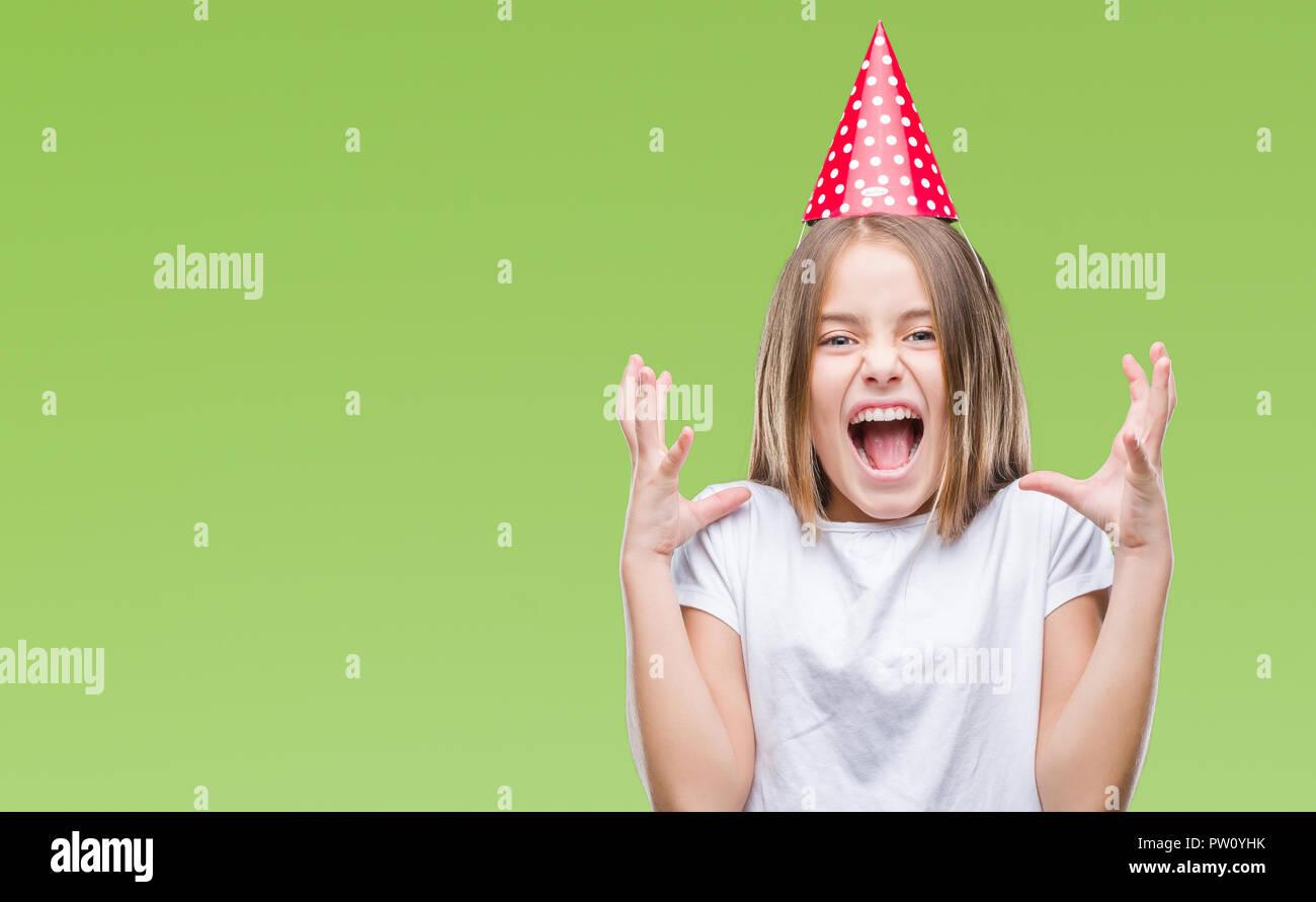 Junge Schone Madchen Tragen Geburtstag Kappe Uber Isolierte
