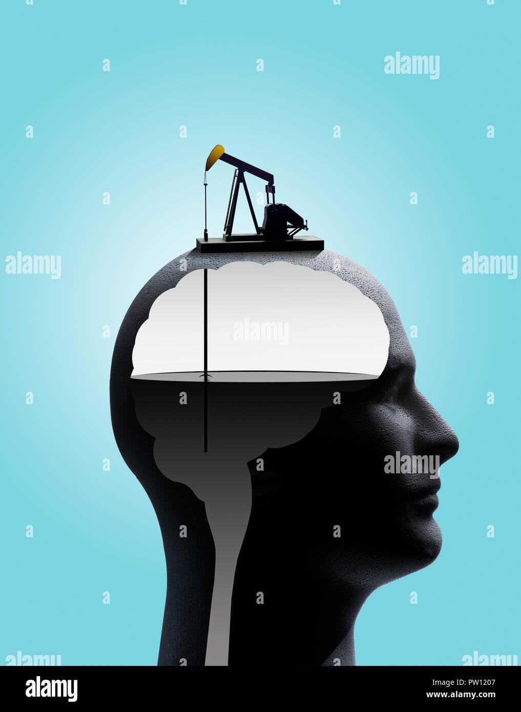 Konzept Profil eines Mannes mit Umrisse von Gehirn und Stammzellen, in der die Pumpe pumpt Öl vom Gehirn, Öl Süchtiger, Benzin, Petroleum Stockbild