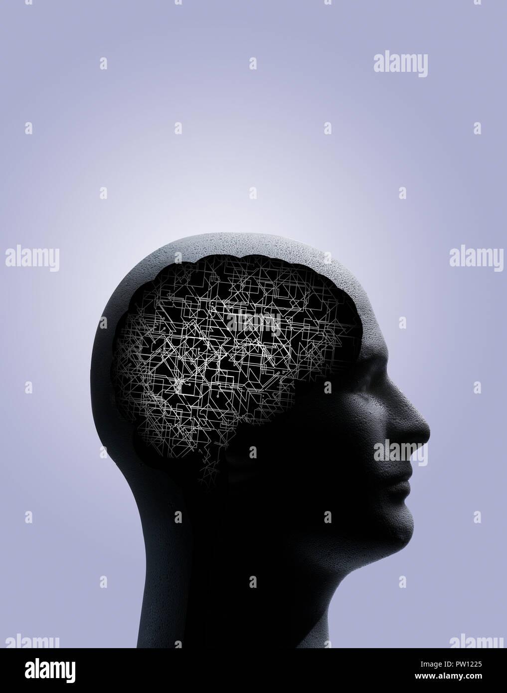 Konzept Profil eines Mannes mit Umrisse von Gehirn und Stammzellen, die eine komplexe Struktur, Textur, Zukunftsorientierte, Ideen Stockbild