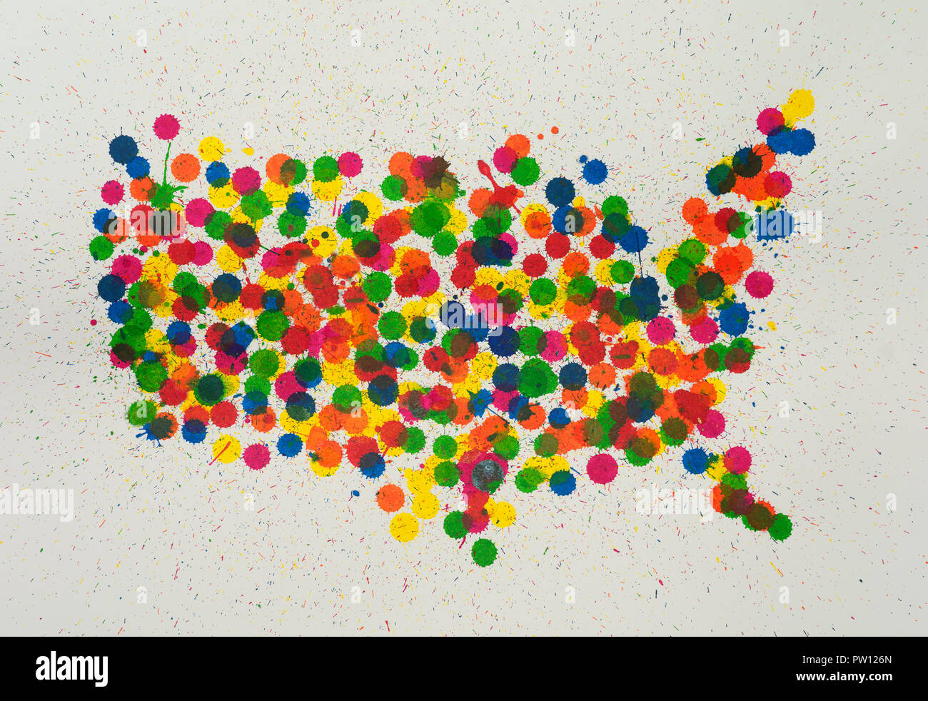 Konzept USA Karte aus Farbe tropft abfällt, mehrfarbige Karte, Vielfalt, United States Stockbild