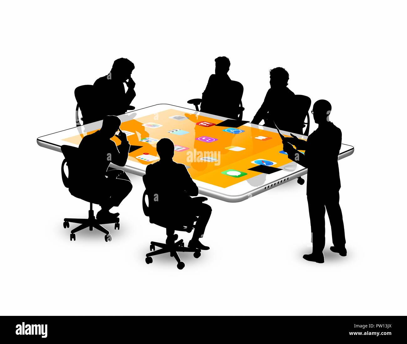 Konzept einer Gruppe von Männern in einem Meeting, an einem Tisch Tablet, Konferenz, Business Stockbild