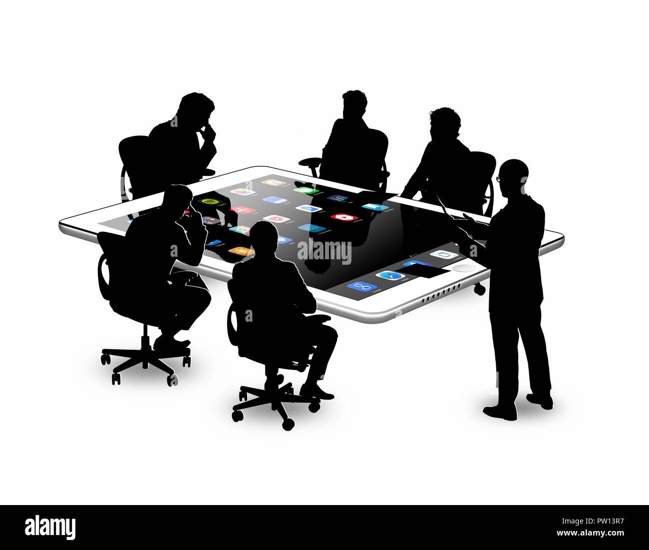 Konzept einer Gruppe von Business Männer in einer Konferenz, um einen Tisch, Tablet, Konferenz, Business Stockbild