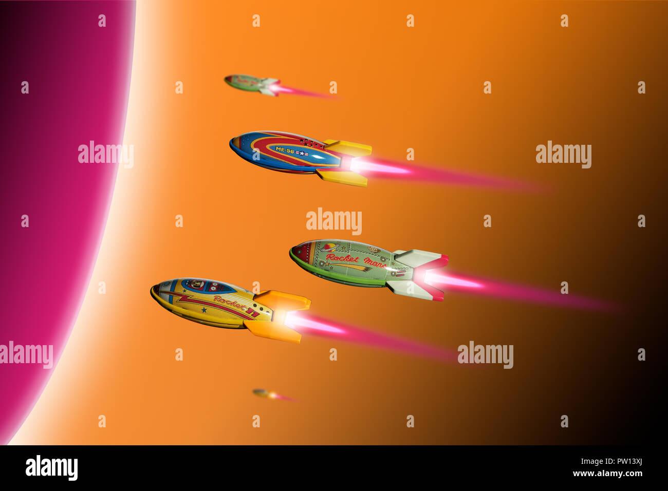 Konzept einer Gruppe von bunten Spielzeug Raketen in Richtung einen runden Planeten, Raumfahrt, Interstellaren Stockbild