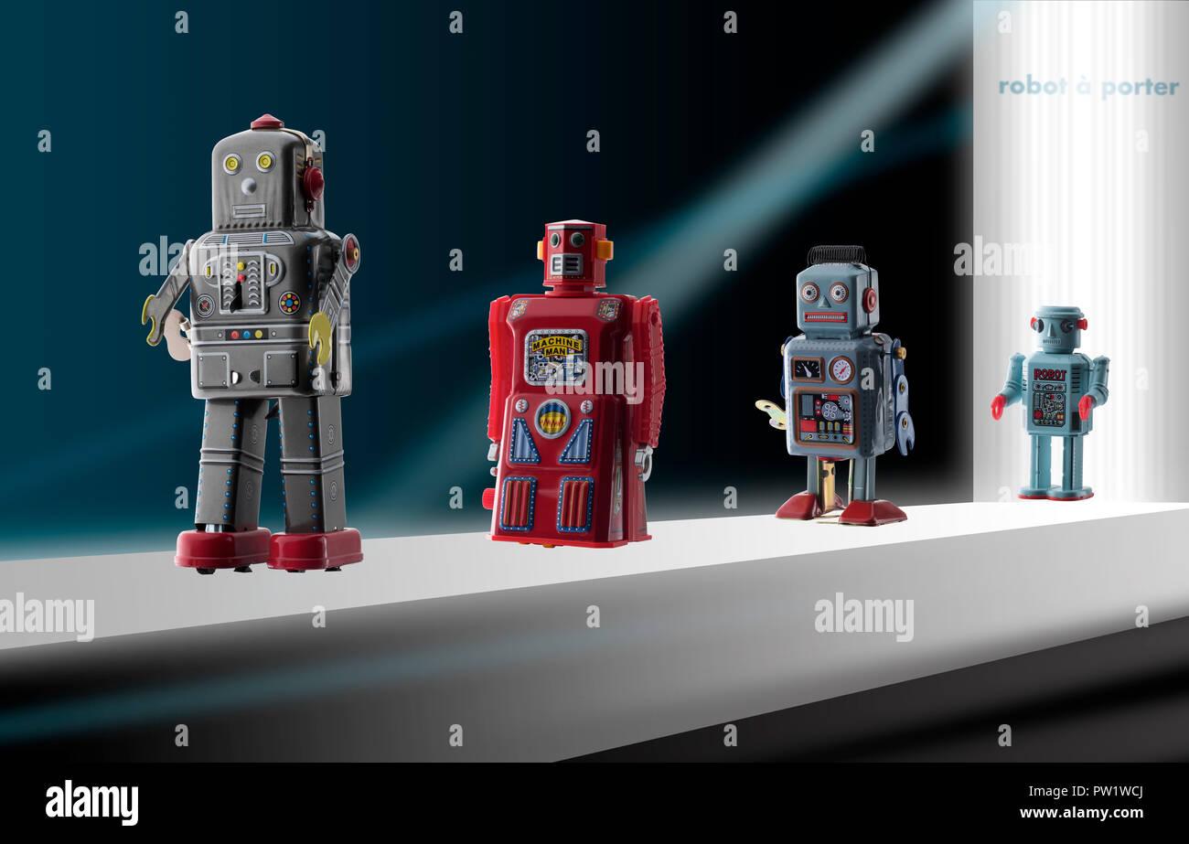 Konzept ein Fashion Runaway mit Spielzeug Roboter, Modenschau, Robotic Verschleiß Stockbild