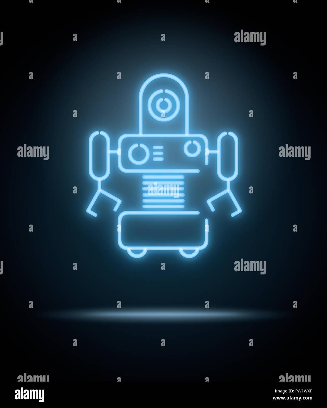 Konzept einer Leuchtreklame eines Roboters Stockbild