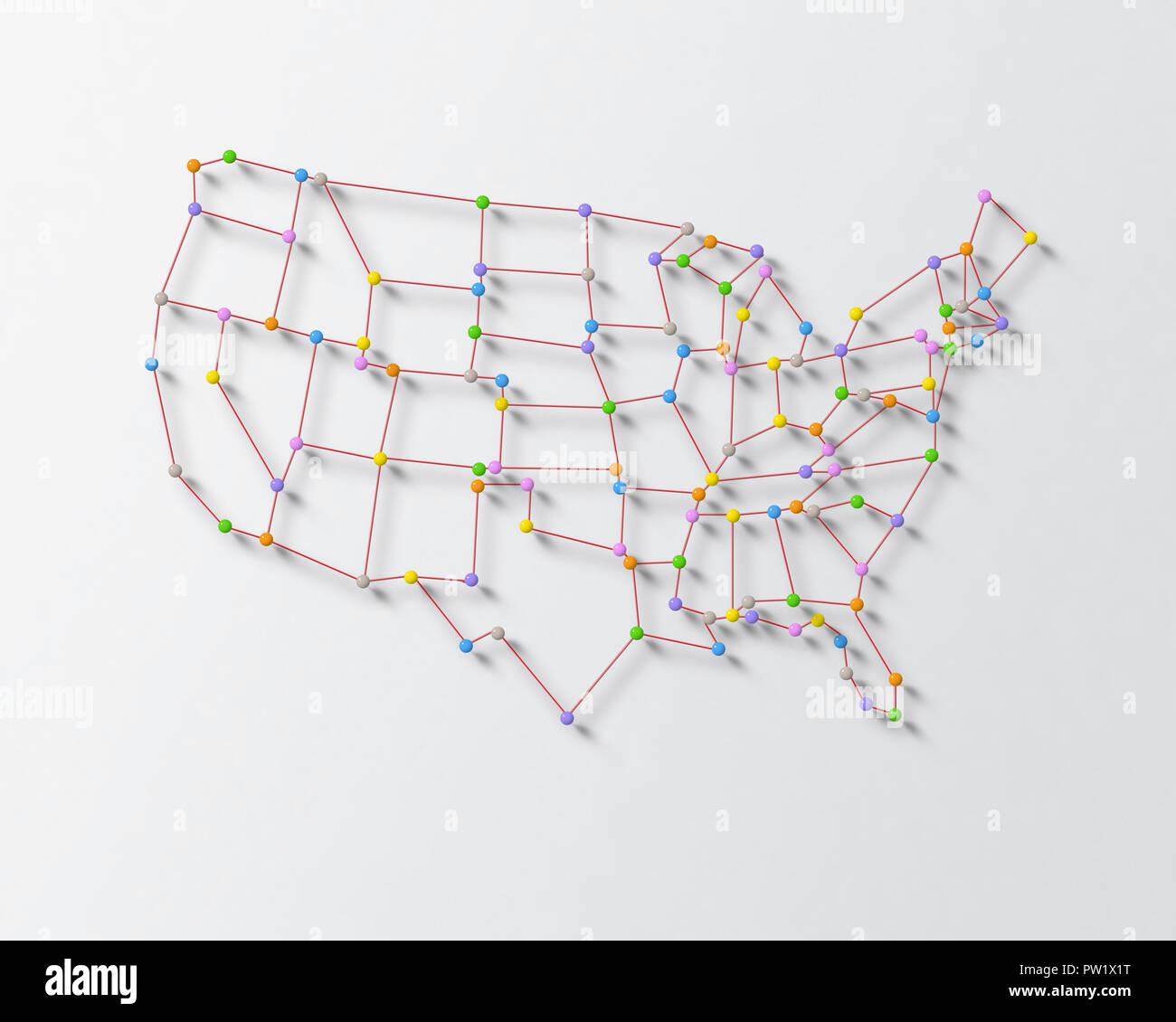 Farbe Stifte und Spurweiten auf einer Oberfläche, die United States Karte, USA, US, Nordamerika Stockbild