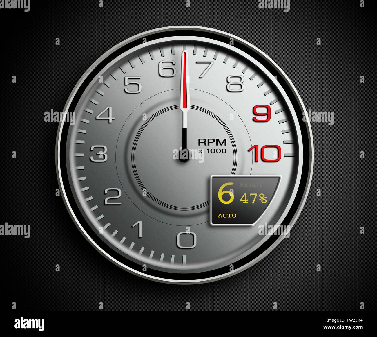 Ein silbernes Auto U/min bei 6400, Sport Auto, Supersportwagen, Umdrehung pro Minute, Ferrari Stockbild