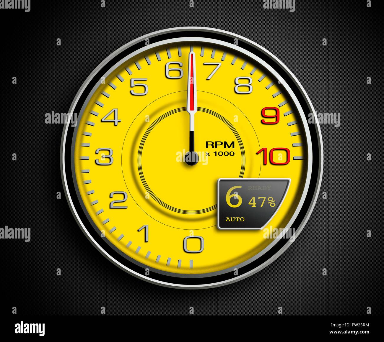 Ein gelbes Auto 1/min bei 6400, Sport Auto, Supersportwagen, Umdrehung pro Minute, Ferrari Stockbild