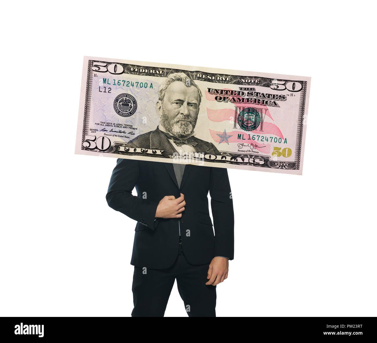 Konzept ein Mann mit einem Anzug stehend, über seinem Kopf, mit einem Kopf von Präsident Grant von $ 50 $ 50 Dollar Bill, Geld, Recht, Stockbild