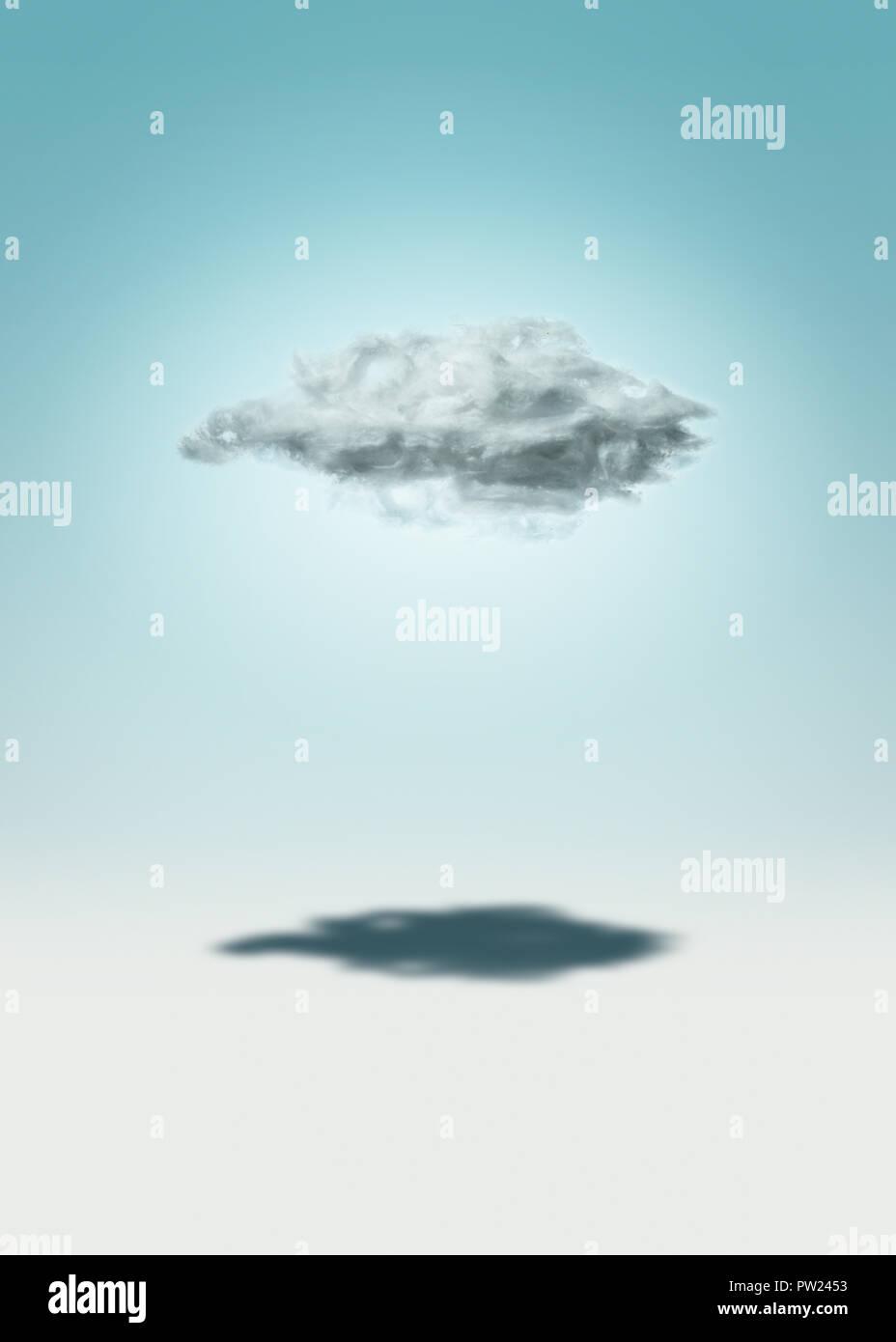 Das Konzept einer einzigen Cloud wirft einen Schatten, Einsamkeit, Single, Allein Stockbild