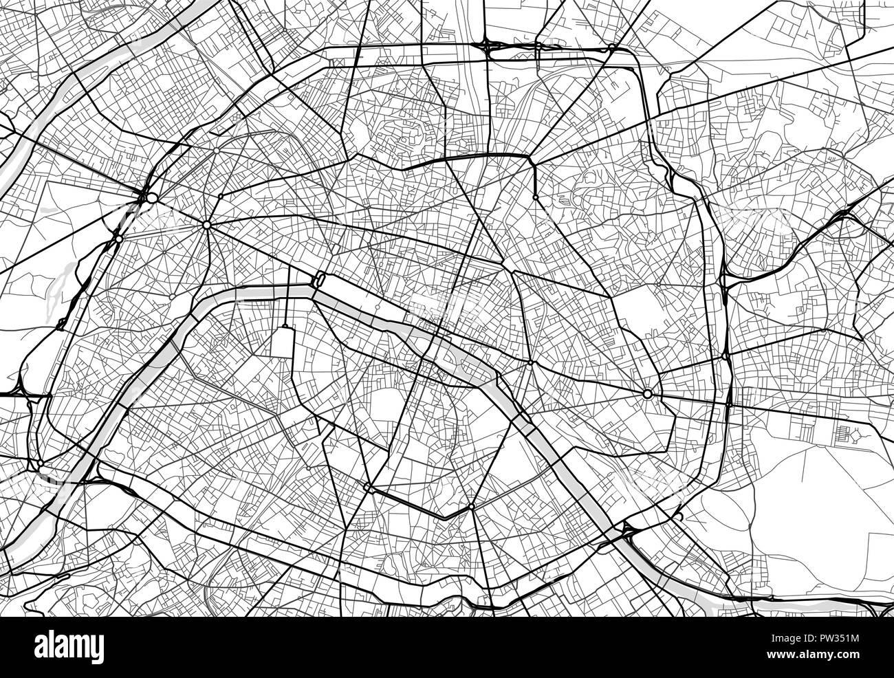 Black White Map Paris France Stockfotos & Black White Map ...
