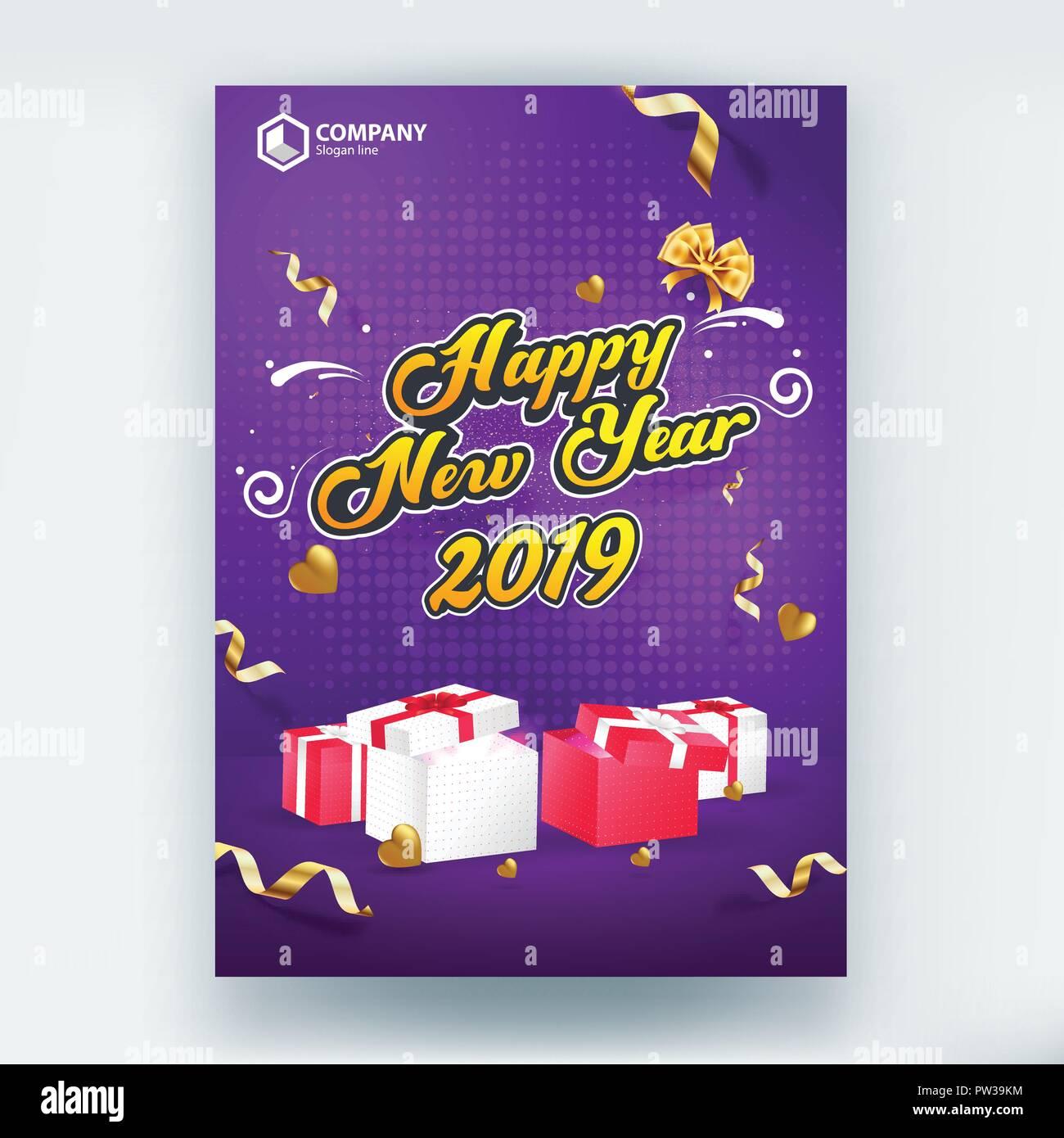 Frohes Neues Jahr 2019 Verkauf Flyer Poster Vector Template Design Stockbild