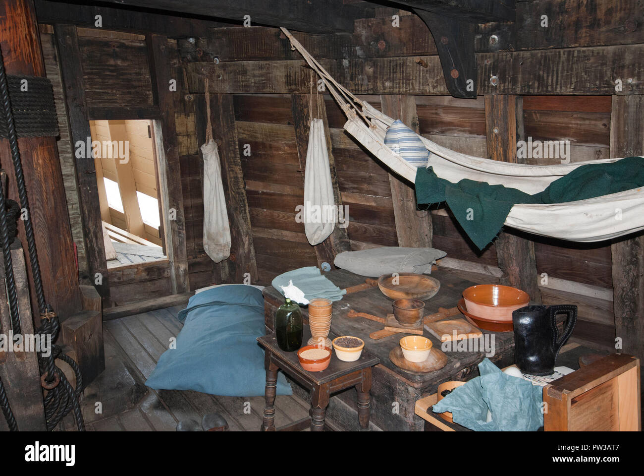 Ein Zimmer der Mayflower II Schiff, Replik der ursprünglichen Mayflower Schiff, Plymouth, Plymouth County, Massachusetts, USA Stockbild