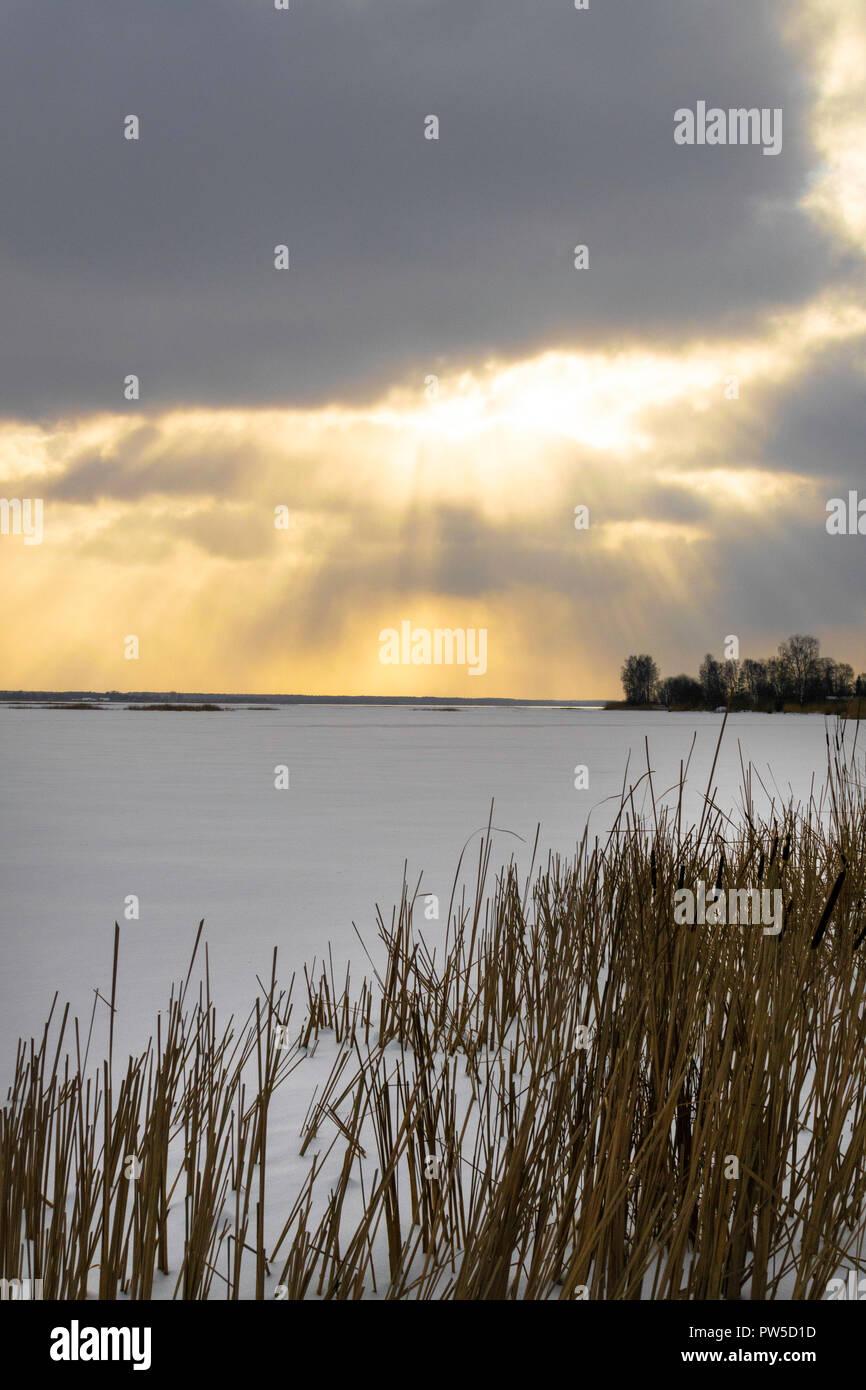Winterlandschaft Mit Den Verschneiten Winter Feld Und Gefrorene