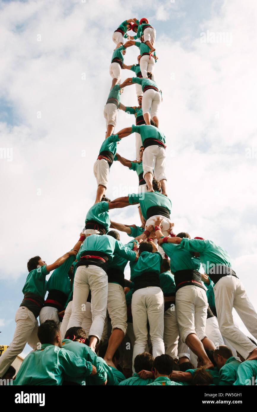 Castellers de Vilafranca, die herkömmliche menschliche Tower, Vilafranca del Penedès, Katalonien, Spanien, 2014 Stockbild