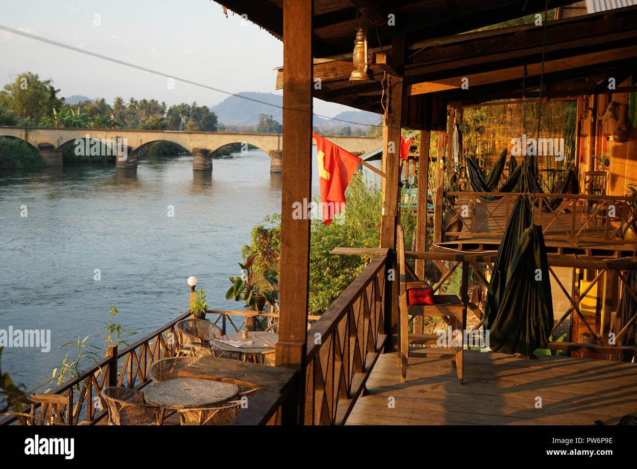 4000 Inseln, Laos, Mekong Stockbild