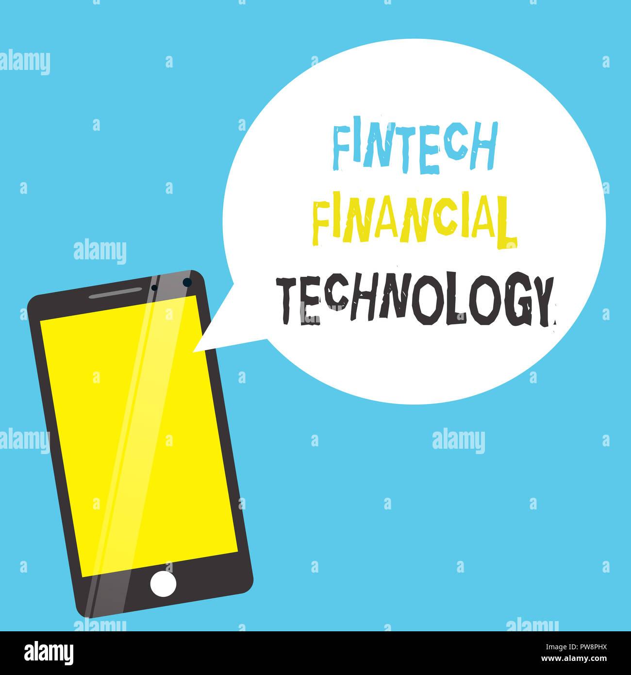 Wort schreiben Text Fintech Finanzielle Technologie. Business Konzept für monetäre Service mit Hilfe der neuen Technik. Stockfoto