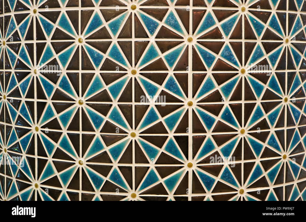 Braun Und Blau Farbige Geometrische 1001 Traditionelle Muster Mosaik