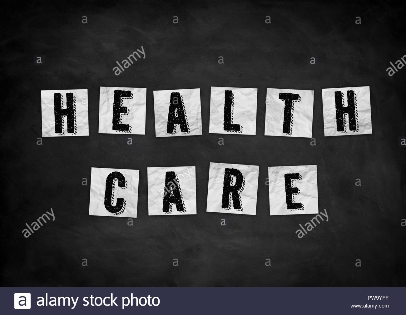 Health Care Schiefertafel Konzept Stockbild
