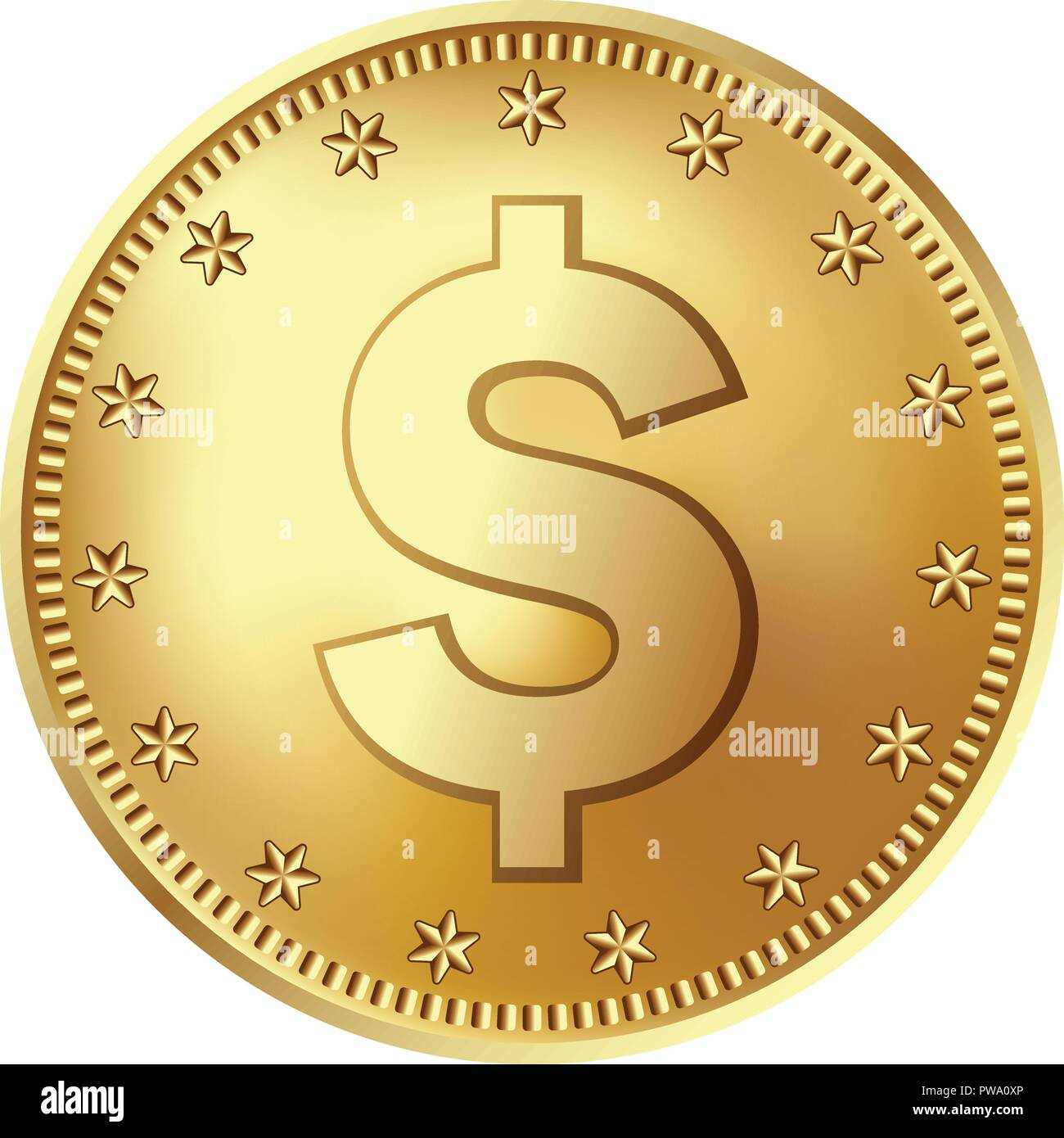 Golden Dollar Münze Geld Vektor Abbildung Bild 222111086 Alamy