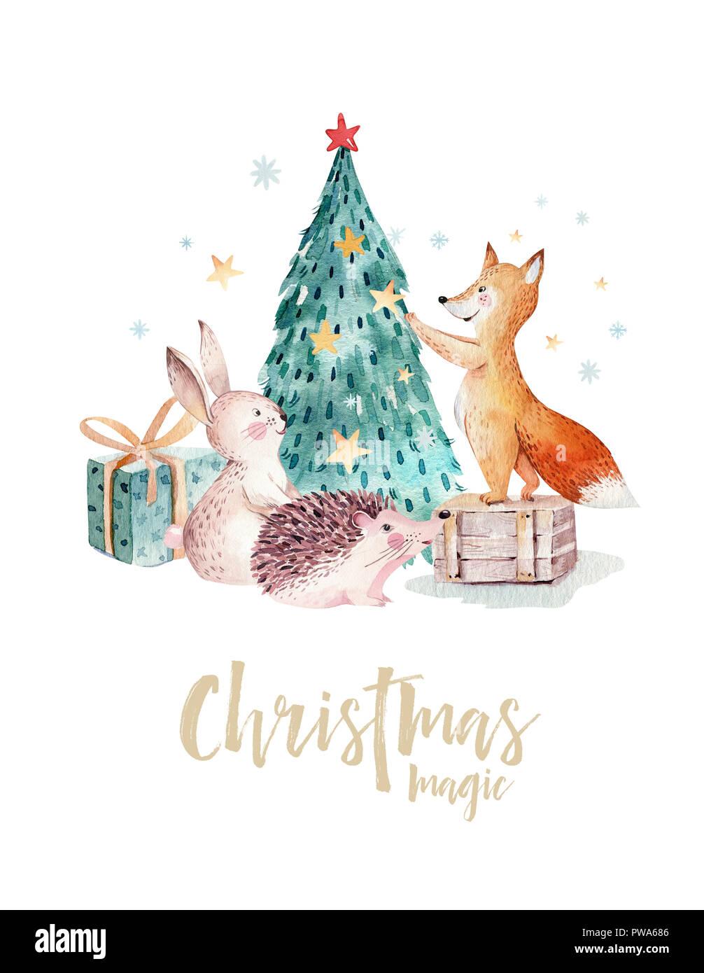 aquarell frohe weihnachten abbildung mit schneemann. Black Bedroom Furniture Sets. Home Design Ideas