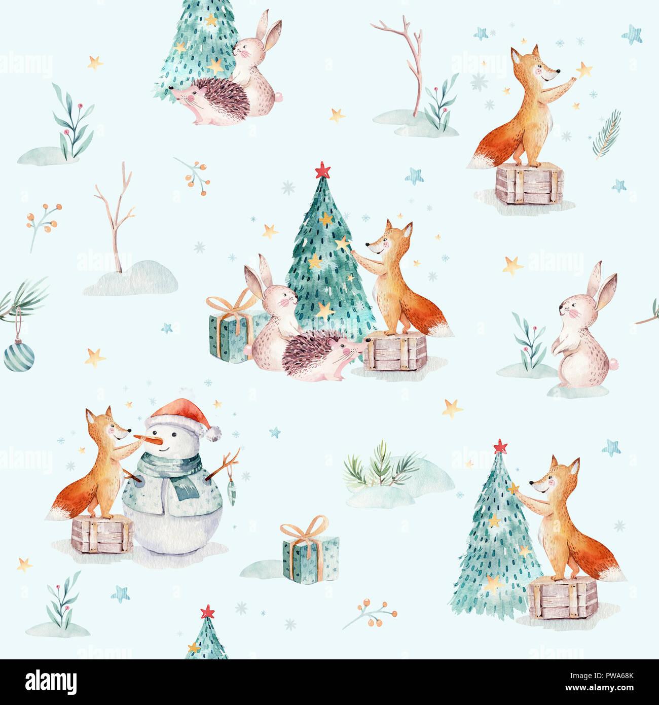 Aquarell frohe weihnachten nahtlose muster mit schneemann - Aquarell weihnachten ...