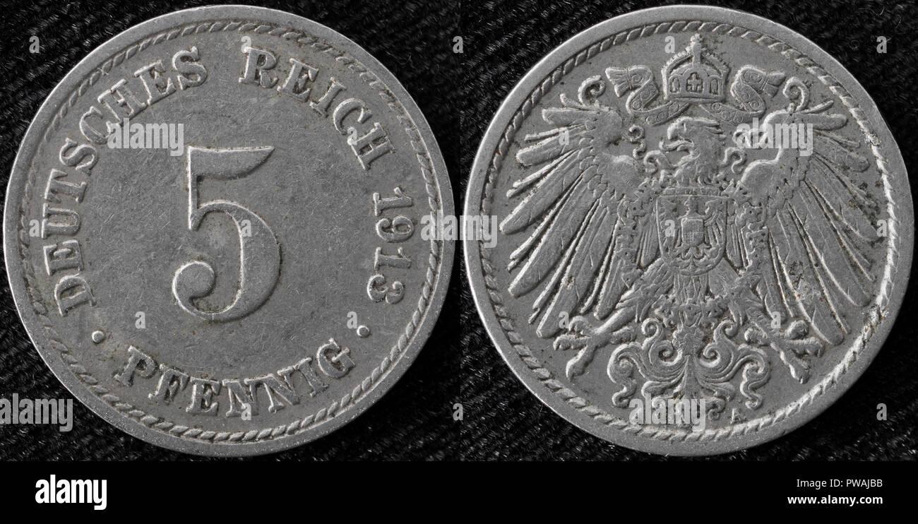 5 Pfennig Münze Deutsches Reich 1913 Stockfoto Bild 222124767 Alamy