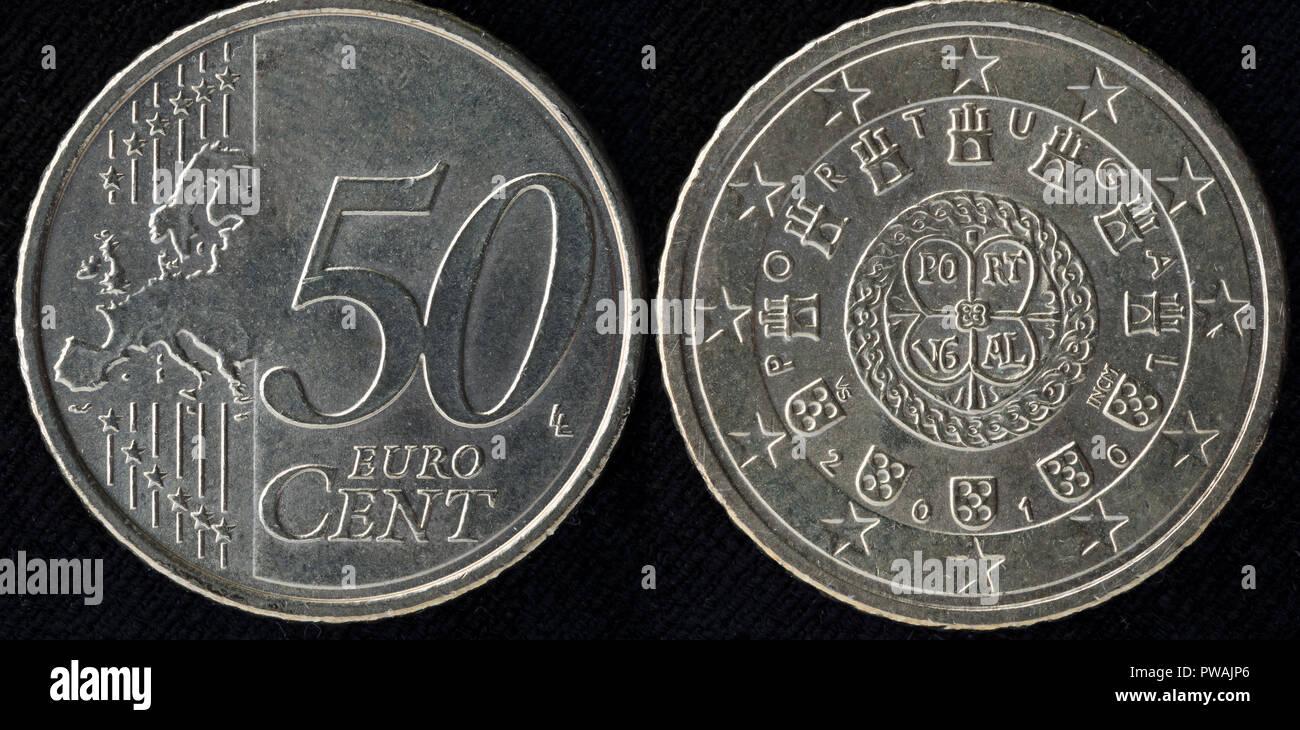 50 Euro Cent Münze Portugal 2010 Stockfoto Bild 222125070 Alamy