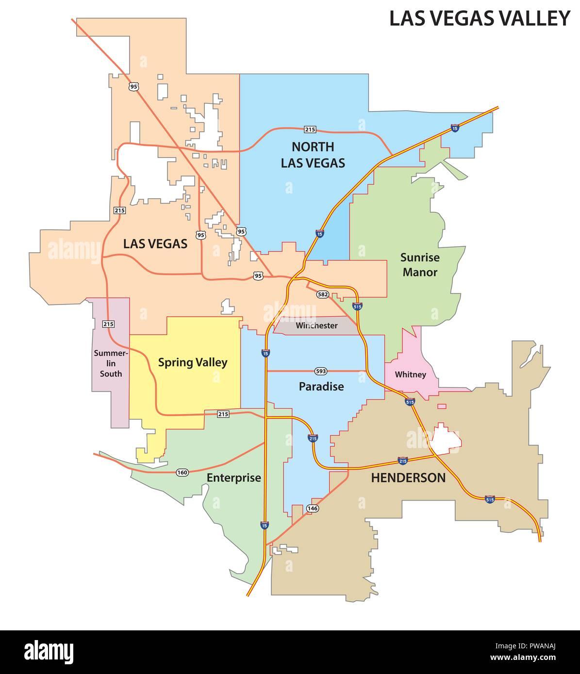 Las Vegas Valley Road Und Administrative Karte Vektor Abbildung