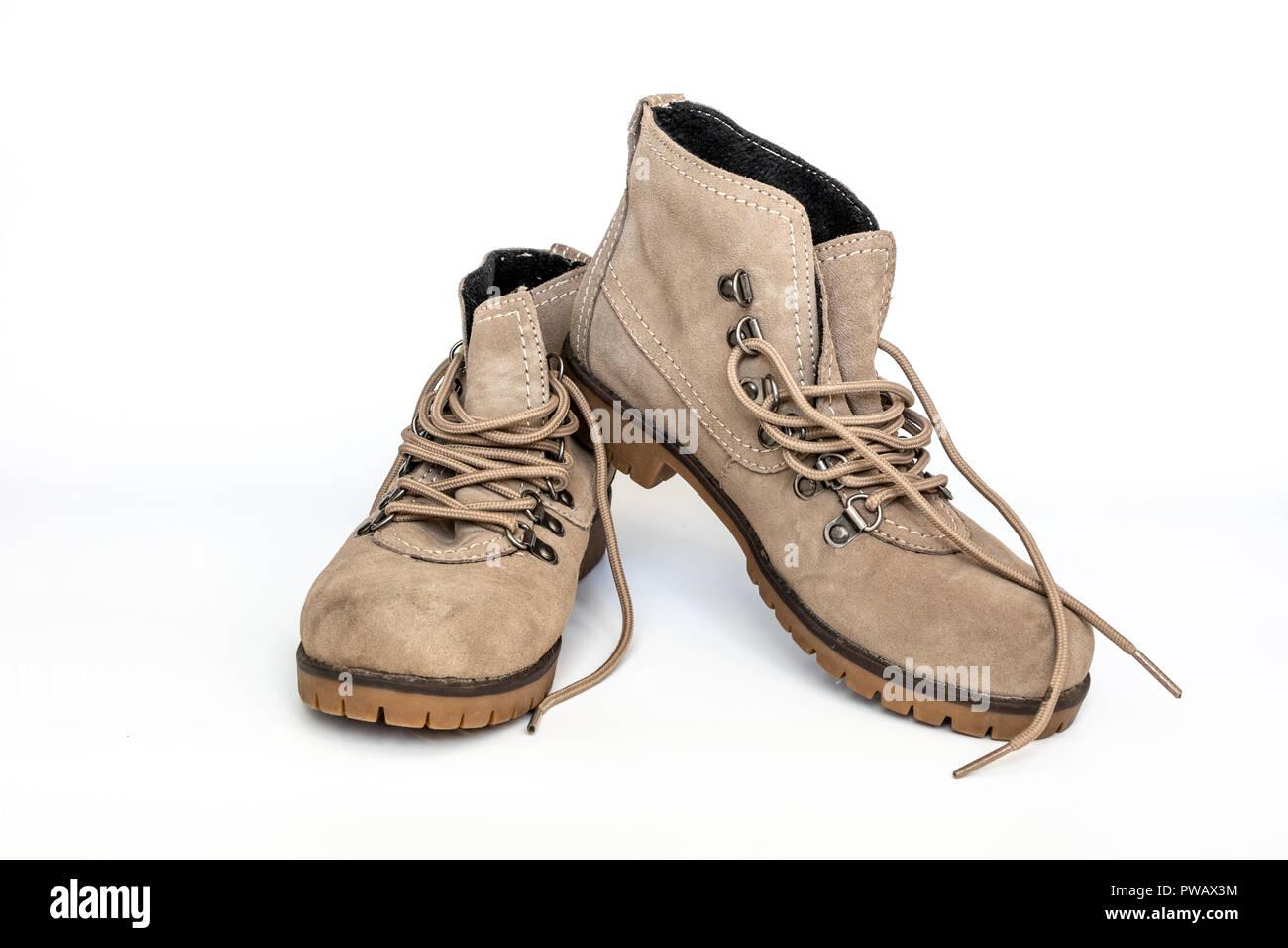 Frauen aus Wildleder Schuhe auf weißem Hintergrund, HDR-Foto Stockbild