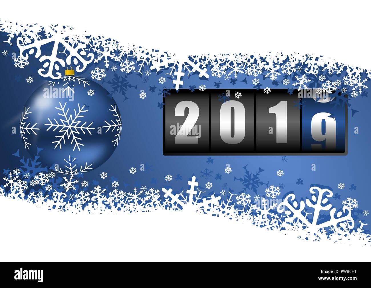 Neues Jahr 2019 Grußkarten mit Blue christmas ball, Zähler und ...