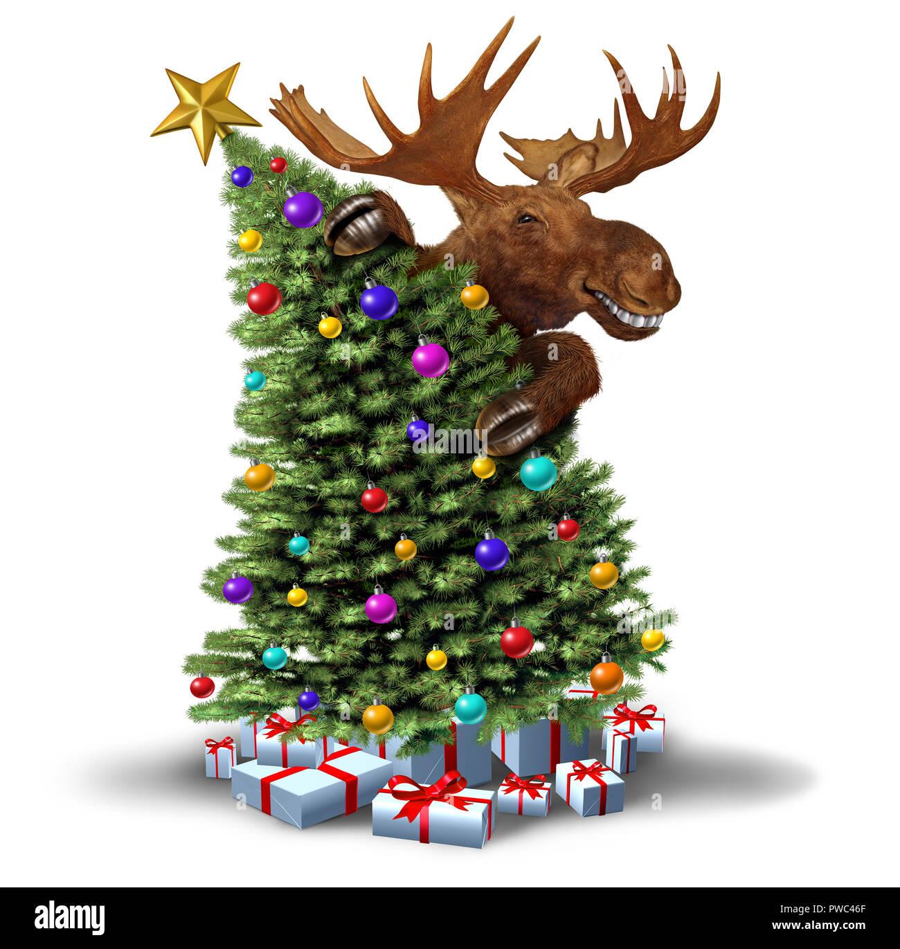 Lustige Elche Schmücken Einen Weihnachtsbaum Als Winterurlaub Gruss