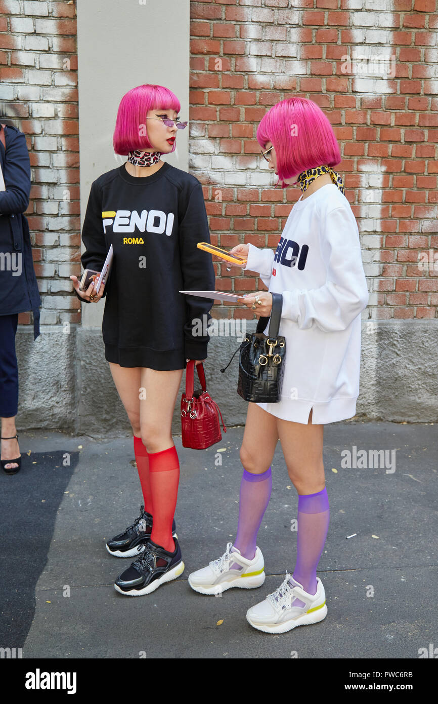 Mailand Italien 20 September 2018 Frauen Mit Rosa Haare
