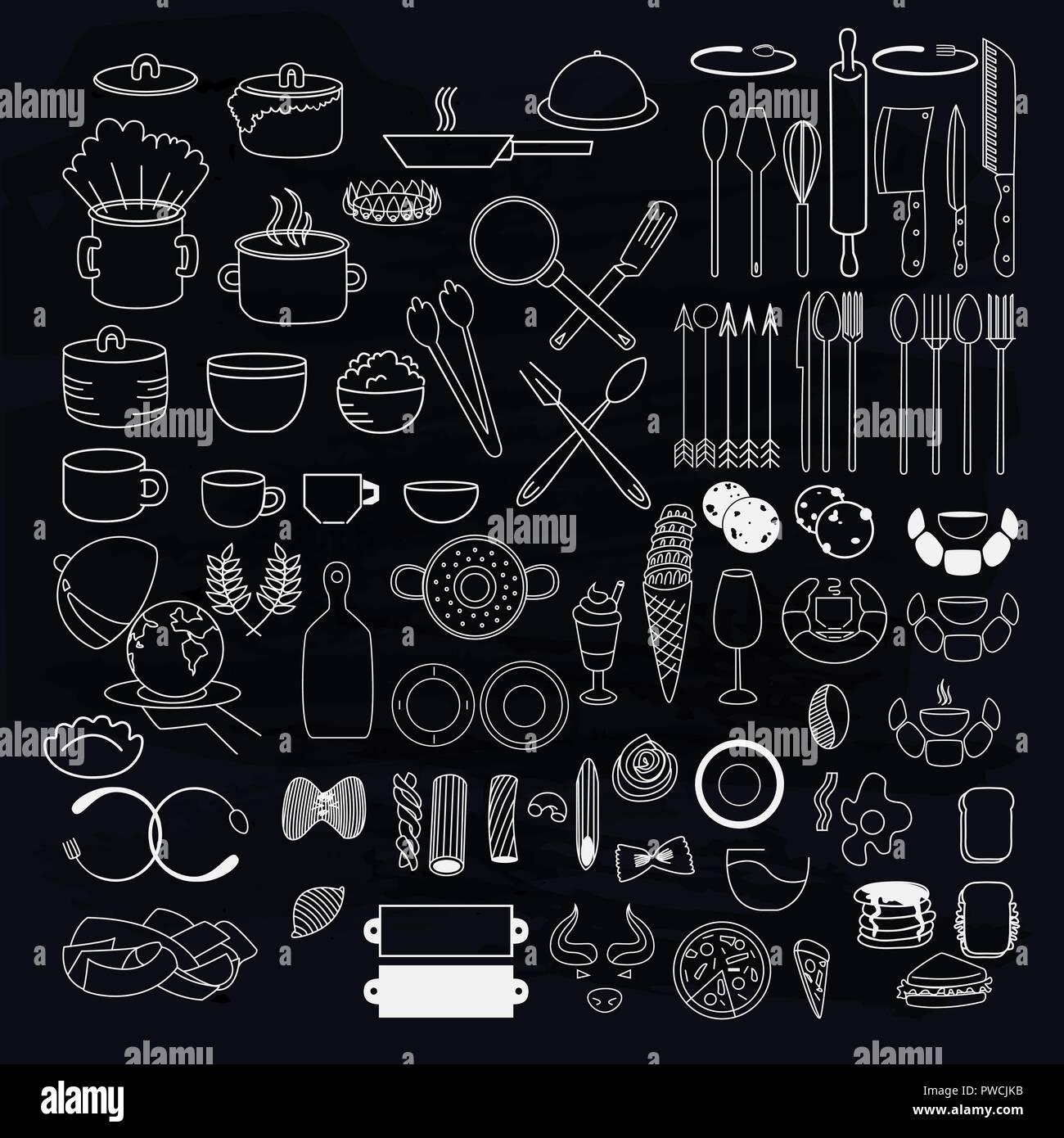 Kuchengerate Symbole Auf Tafel Sammlung Von Handgefertigten