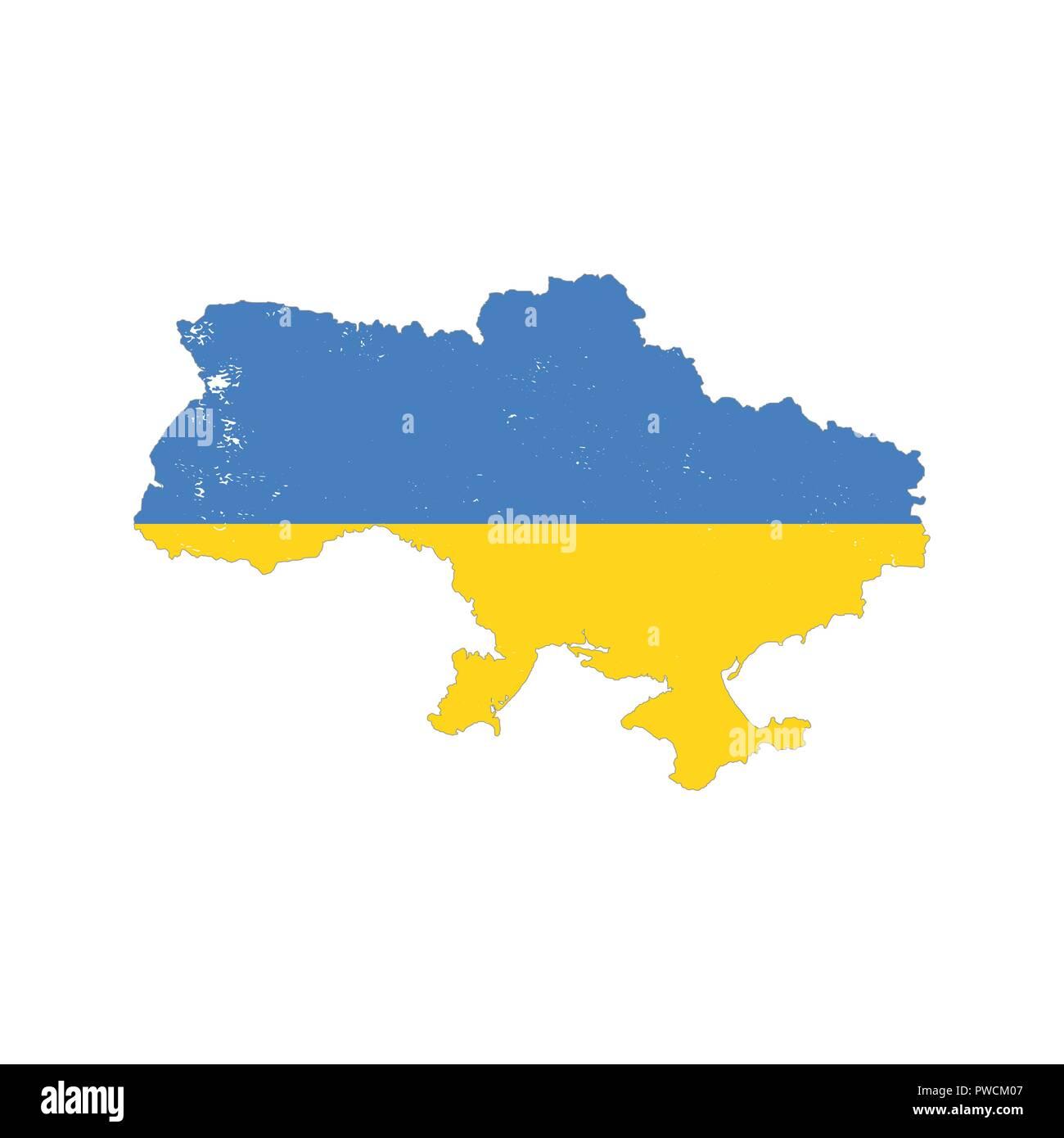 Ukraine Land Silhouette mit Flagge auf weißem Hintergrund ...
