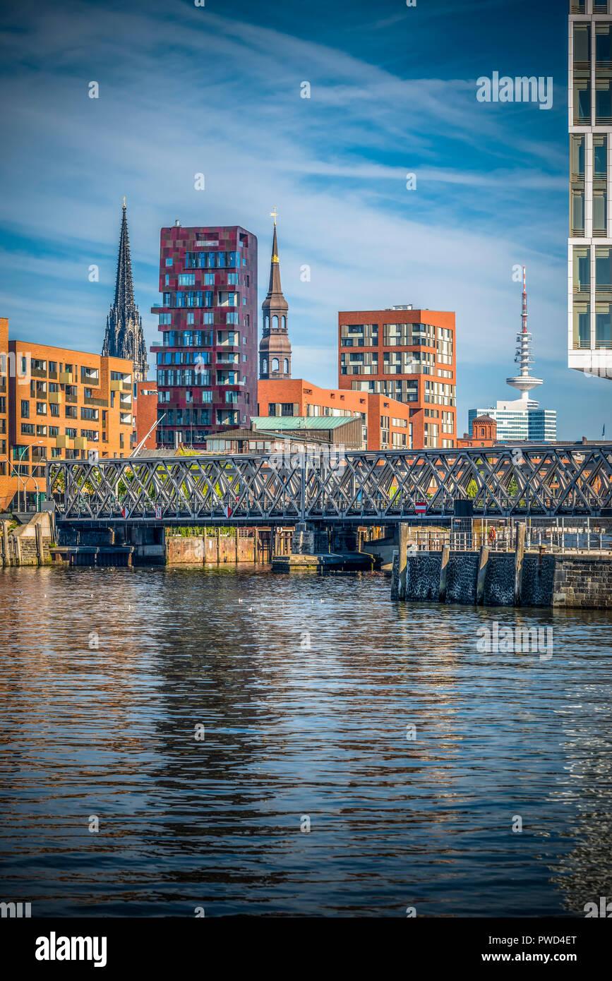 Deutschland, Hamburg, Hafen, Elbe, Hafencity, Brücke, Magdeburger Brücke Stockbild