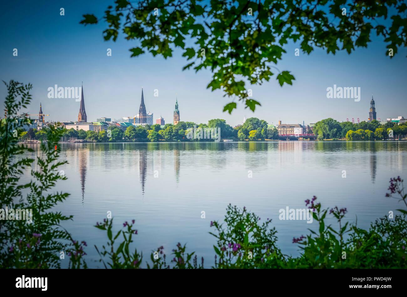 Deutschland, Hamburg, Skyline, Alster, Außenalster Stockbild