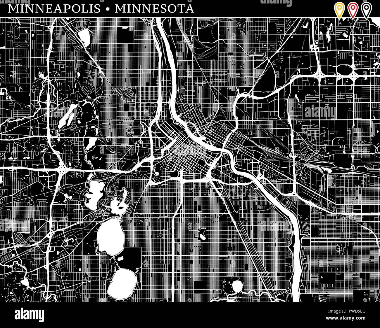 Einfache Karte Von Minneapolis Minnesota Usa Schwarze Und Weisse