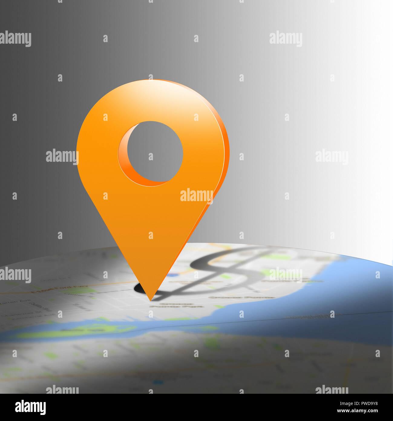 Concept Map Lage Symbol Casting $ Dollarzeichen auf einer Karte, Standort Stockbild