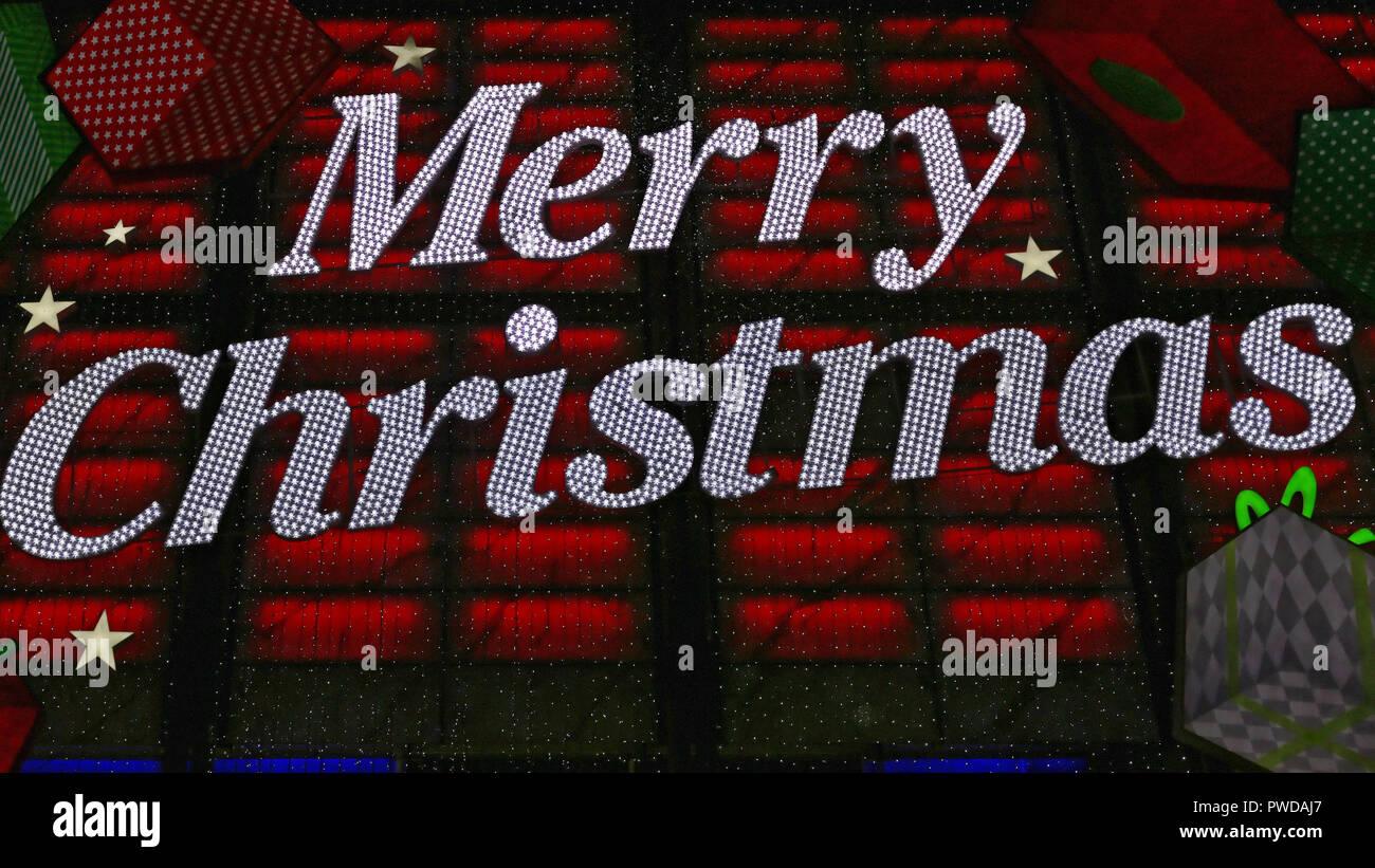 Led Frohe Weihnachten.Big Frohe Weihnachten Lichter In Der Außen Led Stockfoto Bild