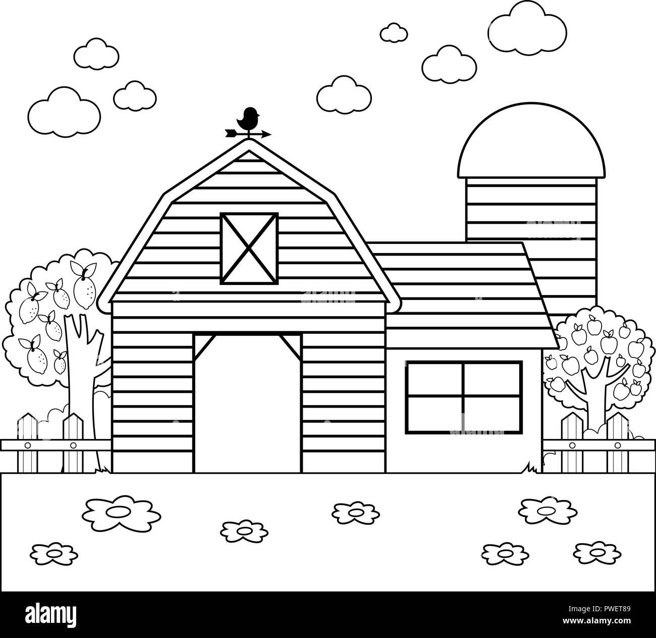 Landschaft mit Scheune, Bauernhaus, Zaun und Obstgarten Bäume. Schwarze und weiße Malbuch Seite Stockbild