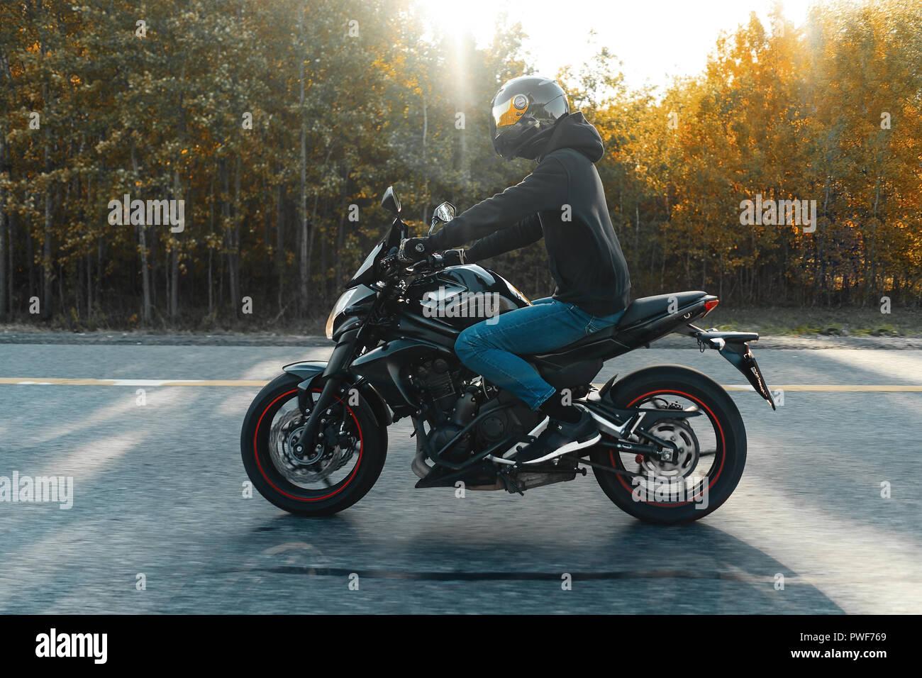 Treiber reiten Motorrad auf leere Straße im schönen Herbst Wald. Stockbild