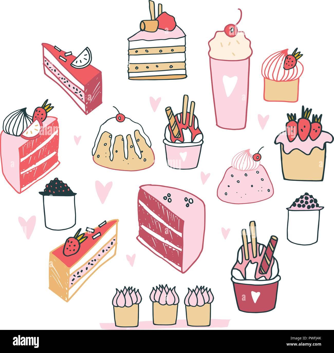 Hand Kostliche Speisen Dessert Sammlung Milchshake Kuchen Pudding
